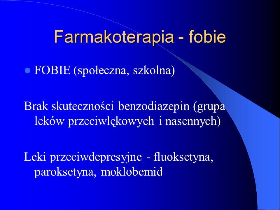 Farmakoterapia - fobie FOBIE (społeczna, szkolna) Brak skuteczności benzodiazepin (grupa leków przeciwlękowych i nasennych) Leki przeciwdepresyjne - fluoksetyna, paroksetyna, moklobemid