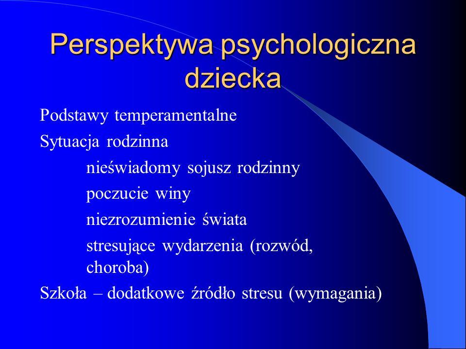 Perspektywa psychologiczna dziecka Podstawy temperamentalne Sytuacja rodzinna nieświadomy sojusz rodzinny poczucie winy niezrozumienie świata stresujące wydarzenia (rozwód, choroba) Szkoła – dodatkowe źródło stresu (wymagania)