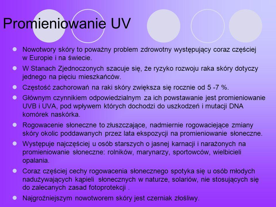 Promieniowanie UV Nowotwory skóry to poważny problem zdrowotny występujący coraz częściej w Europie i na świecie.