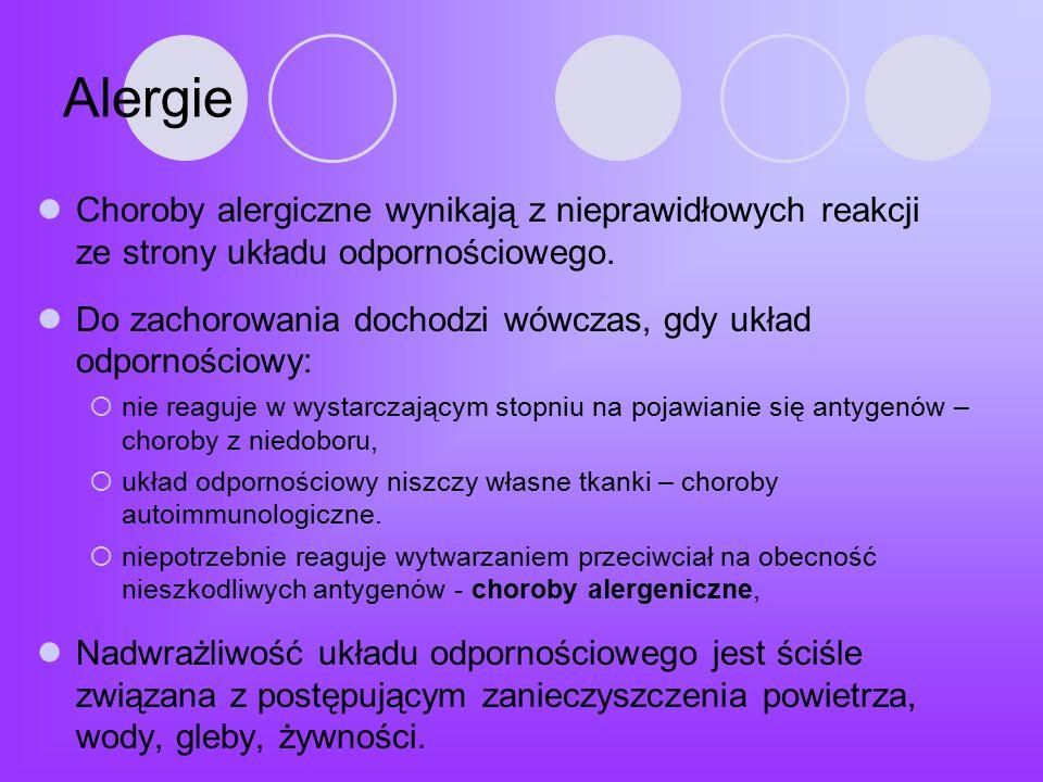 Alergie Choroby alergiczne wynikają z nieprawidłowych reakcji ze strony układu odpornościowego.