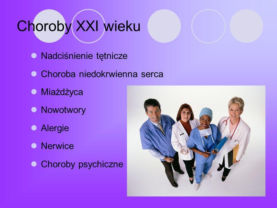Choroby XXI wieku Nadciśnienie tętnicze Choroba niedokrwienna serca Miażdżyca Nowotwory Alergie Nerwice Choroby psychiczne