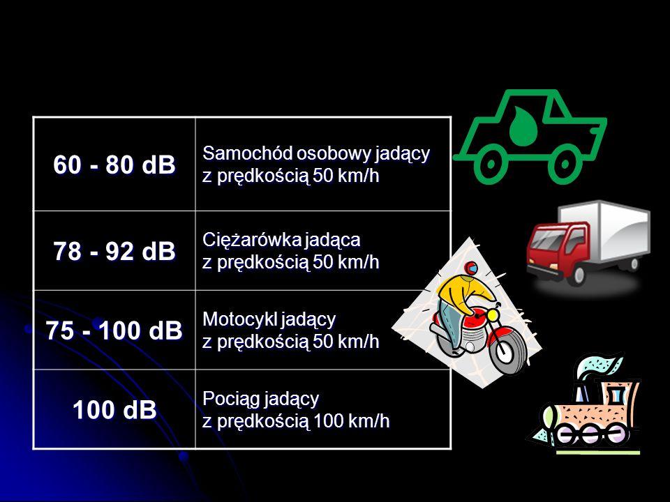 60 - 80 dB Samochód osobowy jadący z prędkością 50 km/h 78 - 92 dB Ciężarówka jadąca z prędkością 50 km/h 75 - 100 dB Motocykl jadący z prędkością 50 km/h 100 dB Pociąg jadący z prędkością 100 km/h