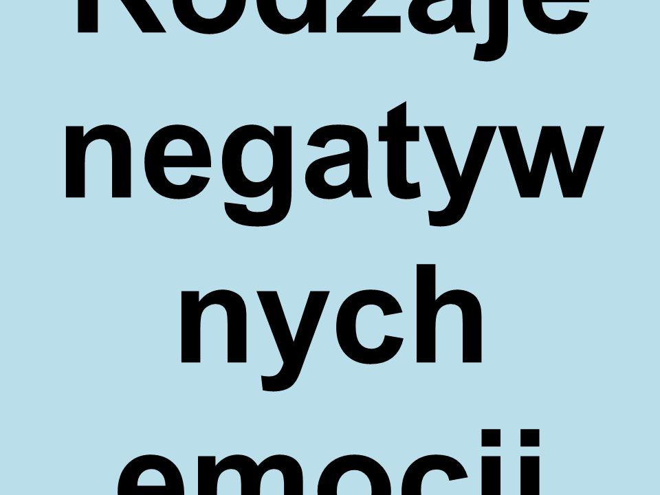 Rodzaje negatyw nych emocji