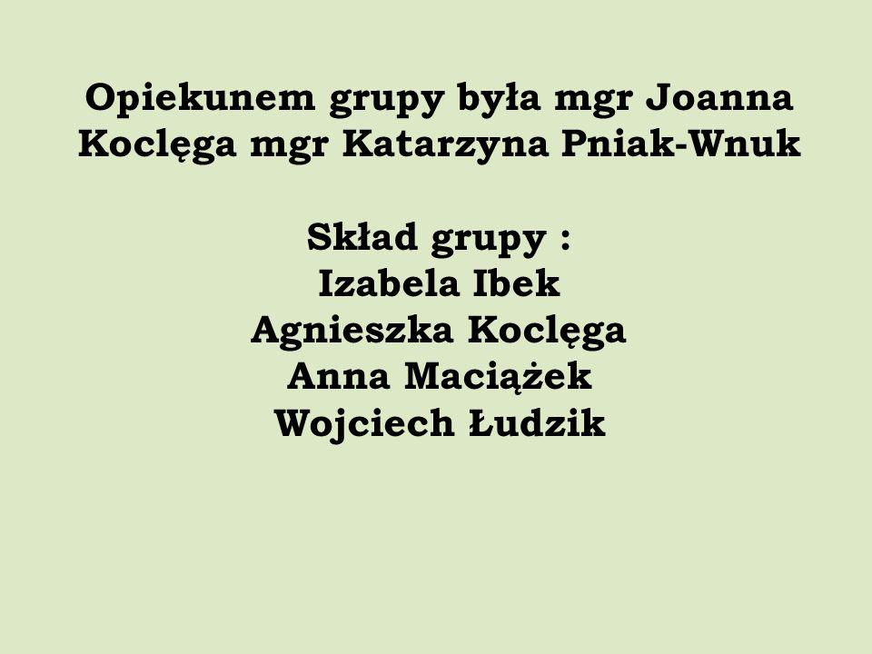 Opiekunem grupy była mgr Joanna Koclęga mgr Katarzyna Pniak-Wnuk Skład grupy : Izabela Ibek Agnieszka Koclęga Anna Maciążek Wojciech Łudzik
