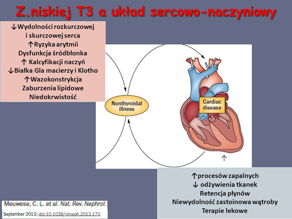 Z.niskiej T3 a układ sercowo-naczyniowy Występowanie: - świeży zawał serca - stany po operacjach kardiochirurgicznych - niewydolność ser ca Klein I, Danzi S Circulation 2007;116:1725-1735