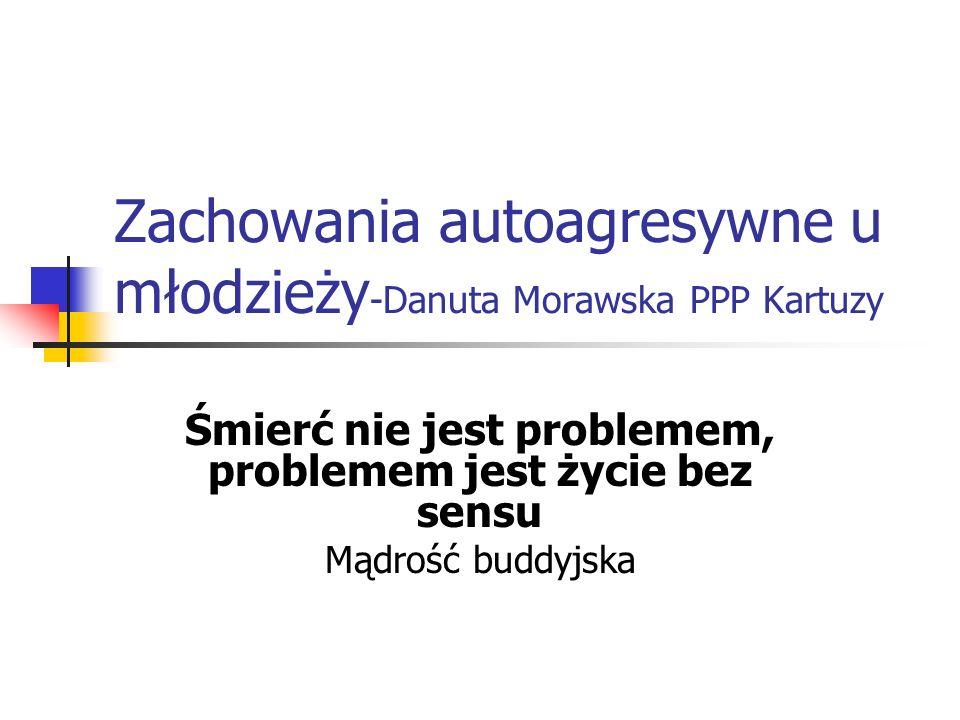 Zachowania autoagresywne u młodzieży -Danuta Morawska PPP Kartuzy Śmierć nie jest problemem, problemem jest życie bez sensu Mądrość buddyjska