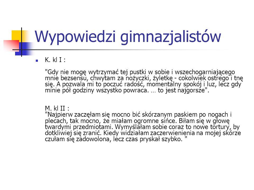 Wypowiedzi gimnazjalistów K. kl I :