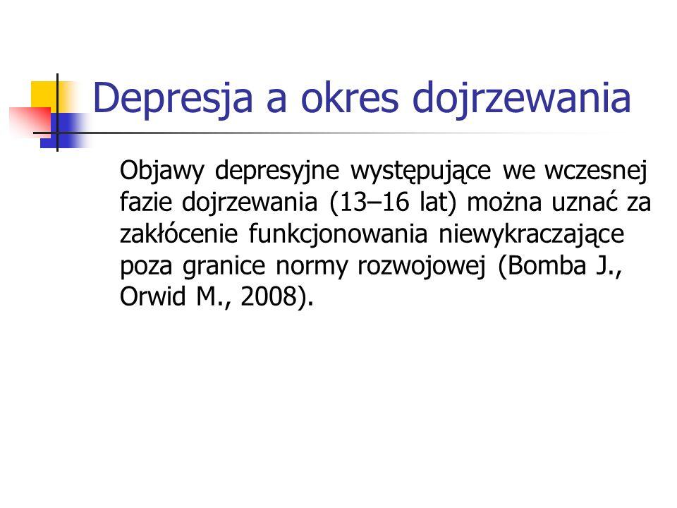 Depresja a okres dojrzewania Objawy depresyjne występujące we wczesnej fazie dojrzewania (13–16 lat) można uznać za zakłócenie funkcjonowania niewykra