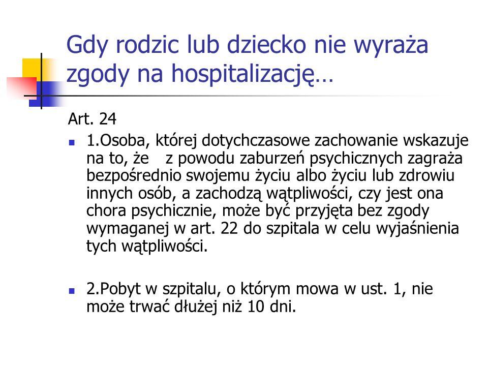 Gdy rodzic lub dziecko nie wyraża zgody na hospitalizację… Art. 24 1.Osoba, której dotychczasowe zachowanie wskazuje na to, że z powodu zaburzeń psych