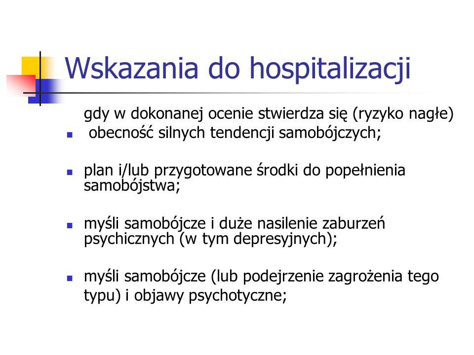 Wskazania do hospitalizacji gdy w dokonanej ocenie stwierdza się (ryzyko nagłe) obecność silnych tendencji samobójczych; plan i/lub przygotowane środk