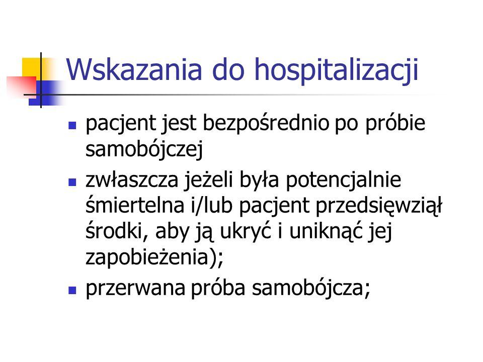 Wskazania do hospitalizacji pacjent jest bezpośrednio po próbie samobójczej zwłaszcza jeżeli była potencjalnie śmiertelna i/lub pacjent przedsięwziął