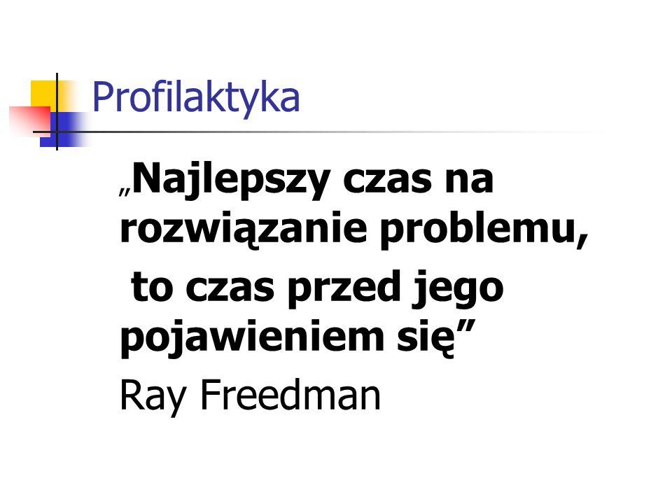"""Profilaktyka """" Najlepszy czas na rozwiązanie problemu, to czas przed jego pojawieniem się"""" Ray Freedman"""