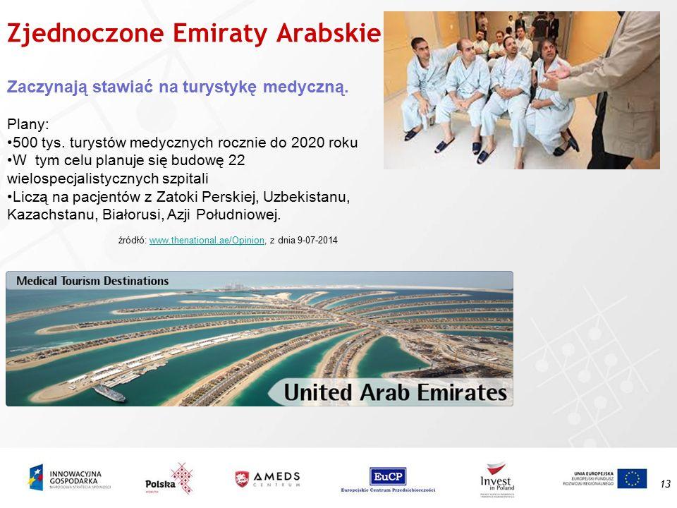 Zjednoczone Emiraty Arabskie 13 Zaczynają stawiać na turystykę medyczną. Plany: 500 tys. turystów medycznych rocznie do 2020 roku W tym celu planuje s