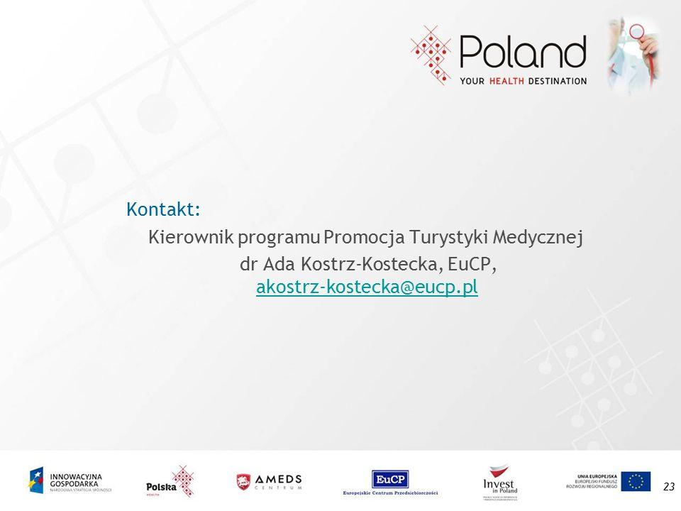 23 Kontakt: Kierownik programu Promocja Turystyki Medycznej dr Ada Kostrz-Kostecka, EuCP, akostrz-kostecka@eucp.pl akostrz-kostecka@eucp.pl