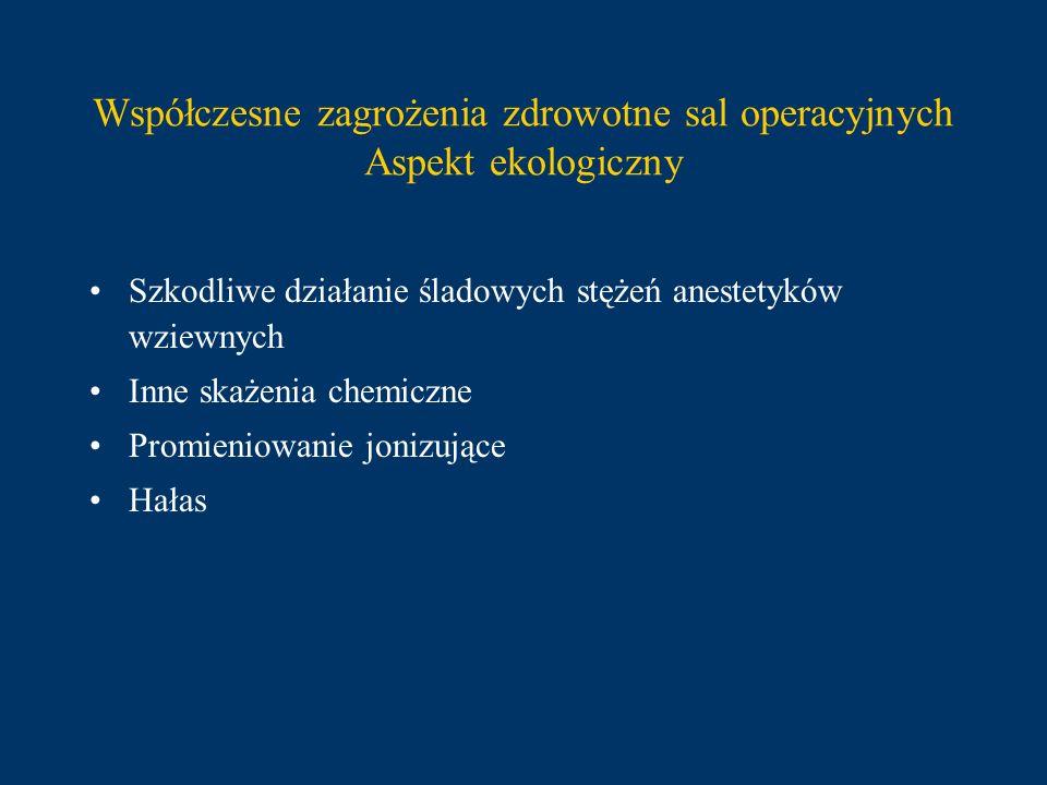Współczesne zagrożenia zdrowotne sal operacyjnych Aspekt ekologiczny Szkodliwe działanie śladowych stężeń anestetyków wziewnych Inne skażenia chemiczn