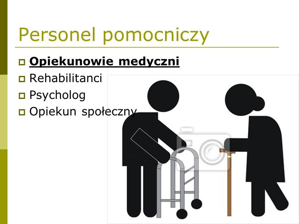 Personel pomocniczy  Opiekunowie medyczni  Rehabilitanci  Psycholog  Opiekun społeczny