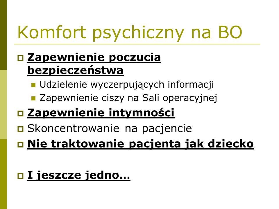 Komfort psychiczny na BO  Zapewnienie poczucia bezpieczeństwa Udzielenie wyczerpujących informacji Zapewnienie ciszy na Sali operacyjnej  Zapewnieni