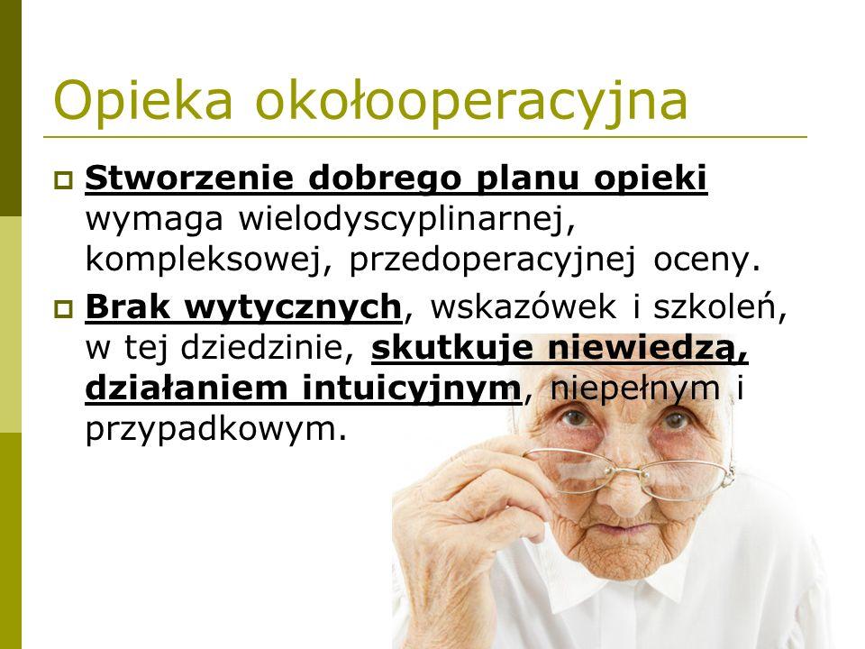 Opieka okołooperacyjna  Stworzenie dobrego planu opieki wymaga wielodyscyplinarnej, kompleksowej, przedoperacyjnej oceny.  Brak wytycznych, wskazówe