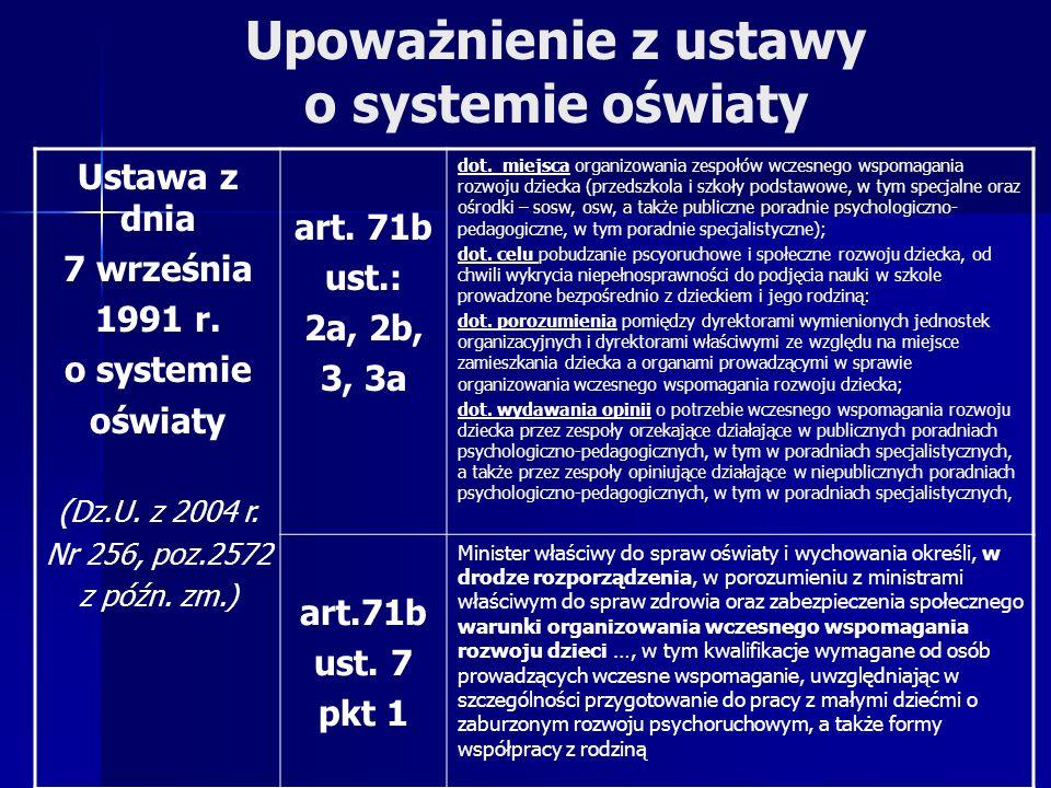 Upoważnienie z ustawy o systemie oświaty Ustawa z dnia 7 września 1991 r.