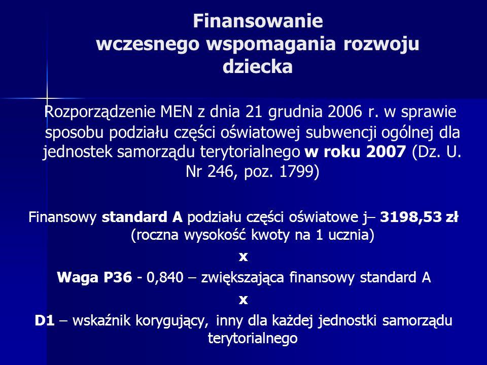 Finansowanie wczesnego wspomagania rozwoju dziecka Rozporządzenie MEN z dnia 21 grudnia 2006 r.