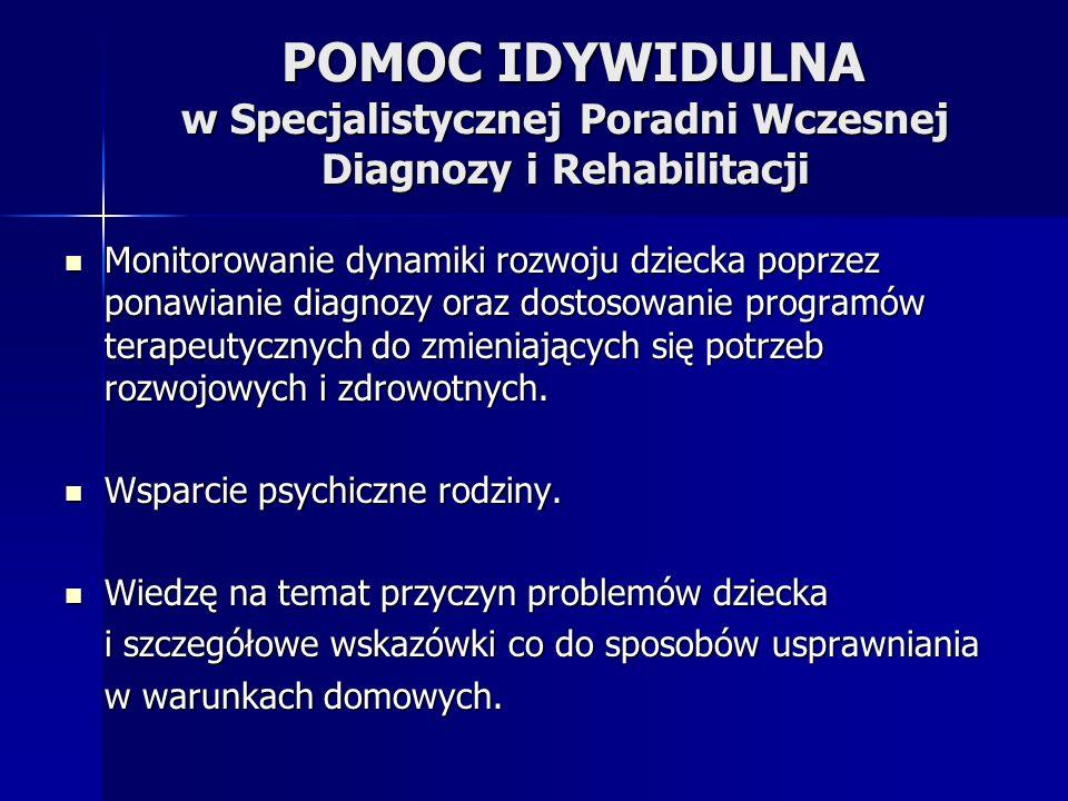 POMOC IDYWIDULNA w Specjalistycznej Poradni Wczesnej Diagnozy i Rehabilitacji POMOC IDYWIDULNA w Specjalistycznej Poradni Wczesnej Diagnozy i Rehabilitacji Monitorowanie dynamiki rozwoju dziecka poprzez ponawianie diagnozy oraz dostosowanie programów terapeutycznych do zmieniających się potrzeb rozwojowych i zdrowotnych.