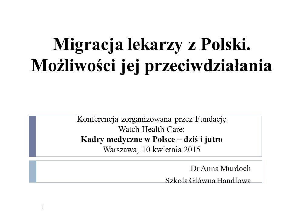 Plan 1.Trendy emigracyjne wśród polskich lekarzy a emigracja z Polski ogółem 2.