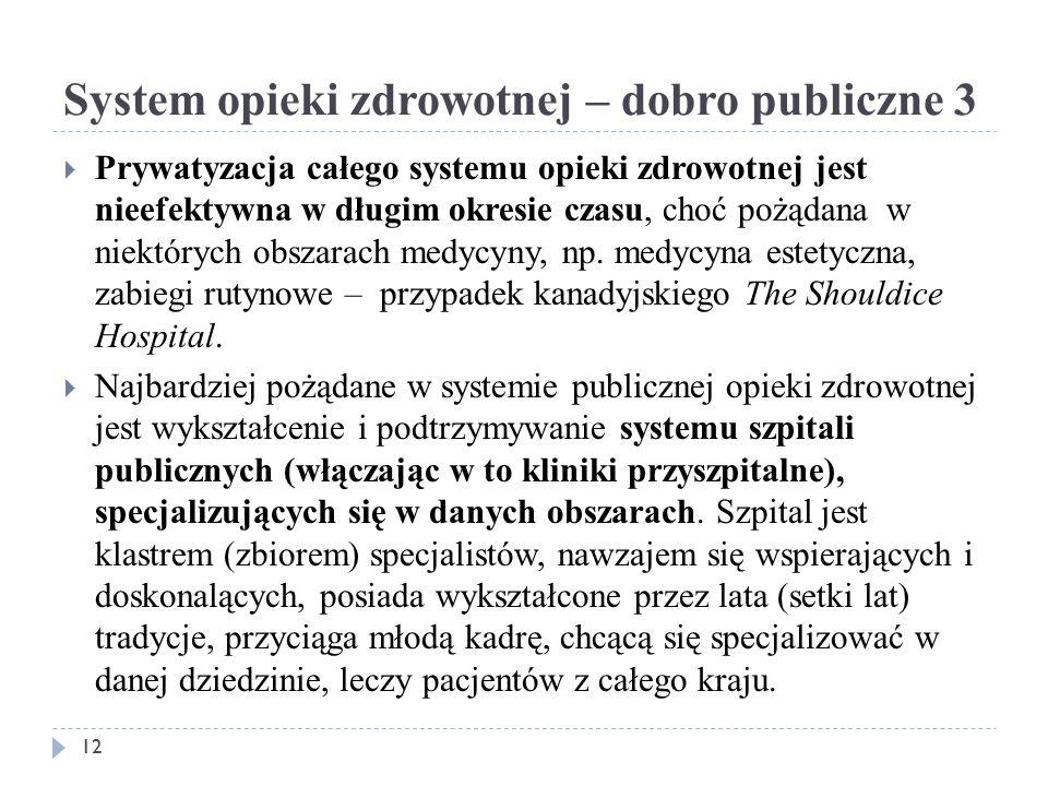 System opieki zdrowotnej – dobro publiczne 3  Prywatyzacja całego systemu opieki zdrowotnej jest nieefektywna w długim okresie czasu, choć pożądana w niektórych obszarach medycyny, np.