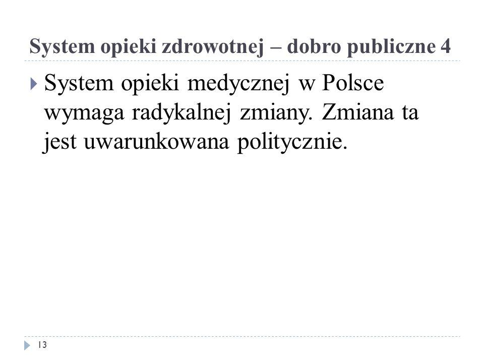System opieki zdrowotnej – dobro publiczne 4  System opieki medycznej w Polsce wymaga radykalnej zmiany.