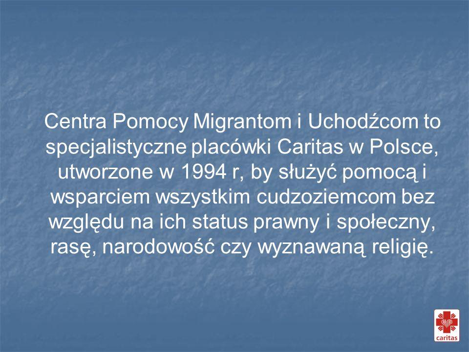 Centra Pomocy Migrantom i Uchodźcom to specjalistyczne placówki Caritas w Polsce, utworzone w 1994 r, by służyć pomocą i wsparciem wszystkim cudzoziem
