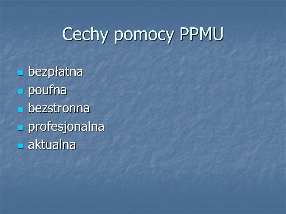 Cechy pomocy PPMU bezpłatna bezpłatna poufna poufna bezstronna bezstronna profesjonalna profesjonalna aktualna aktualna