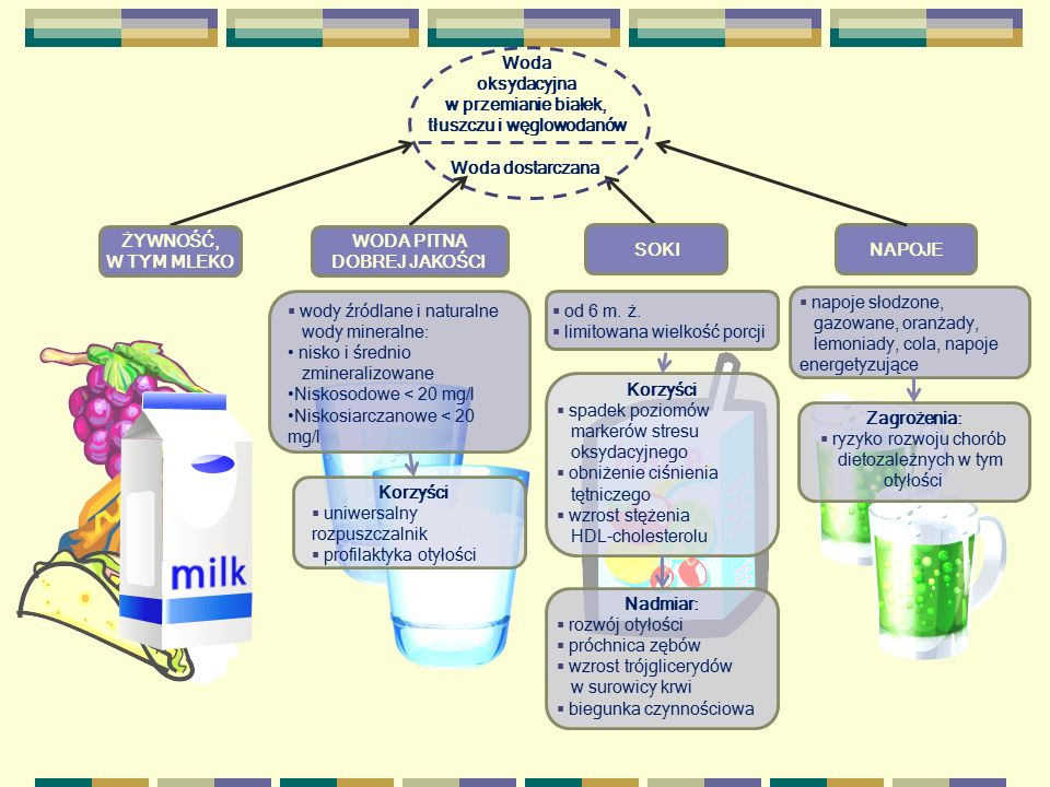 Woda oksydacyjna w przemianie białek, tłuszczu i węglowodanów Woda dostarczana ŻYWNOŚĆ, W TYM MLEKO WODA PITNA DOBREJ JAKOŚCI SOKINAPOJE  wody źródla