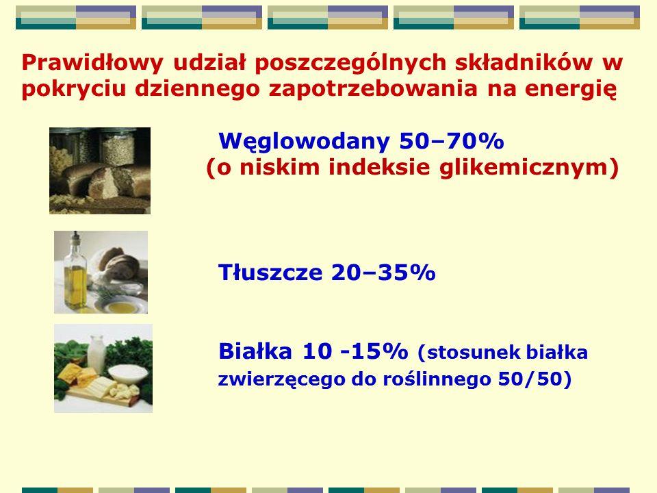 Prawidłowy udział poszczególnych składników w pokryciu dziennego zapotrzebowania na energię Węglowodany 50–70% (o niskim indeksie glikemicznym) Tłuszc