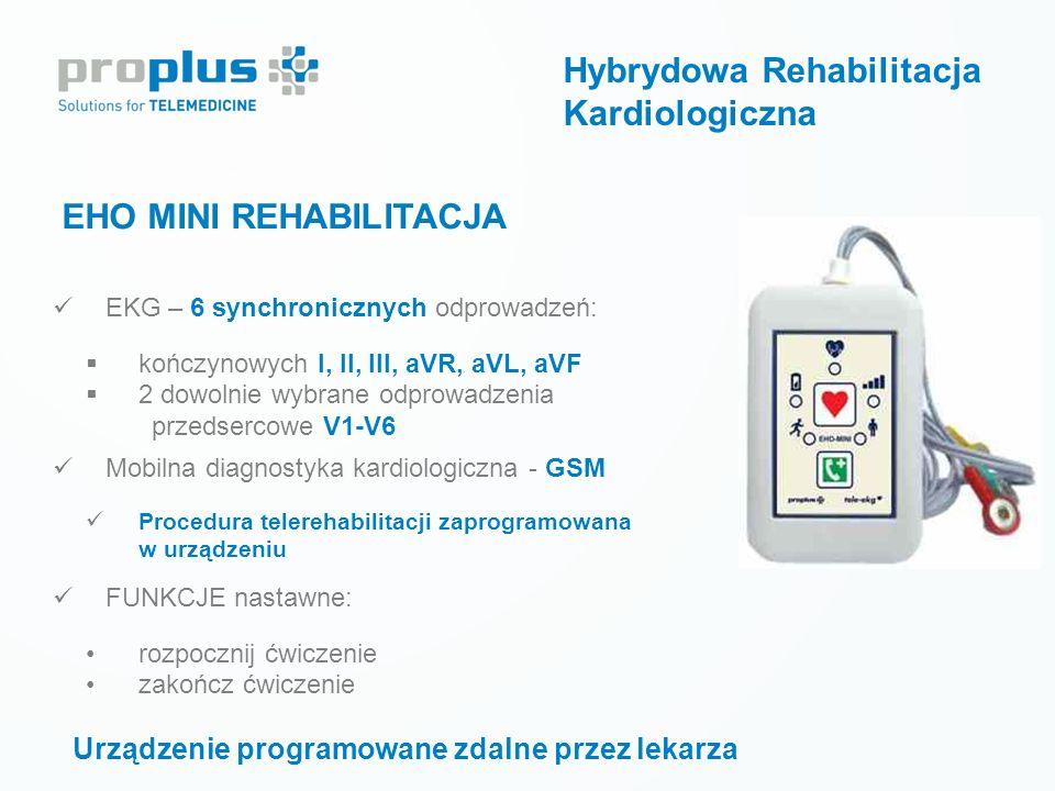 EHO MINI REHABILITACJA Urządzenie programowane zdalne przez lekarza EKG – 6 synchronicznych odprowadzeń:  kończynowych I, II, III, aVR, aVL, aVF  2