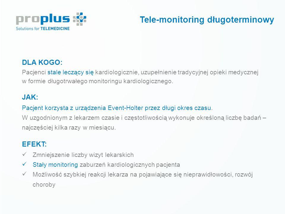 Tele-monitoring krótkoterminowy DLA KOGO: Pacjenci po zdiagnozowaniu jednostki chorobowej lub zabiegu kardiologicznym stosujący farmakoterapię JAK: Pa