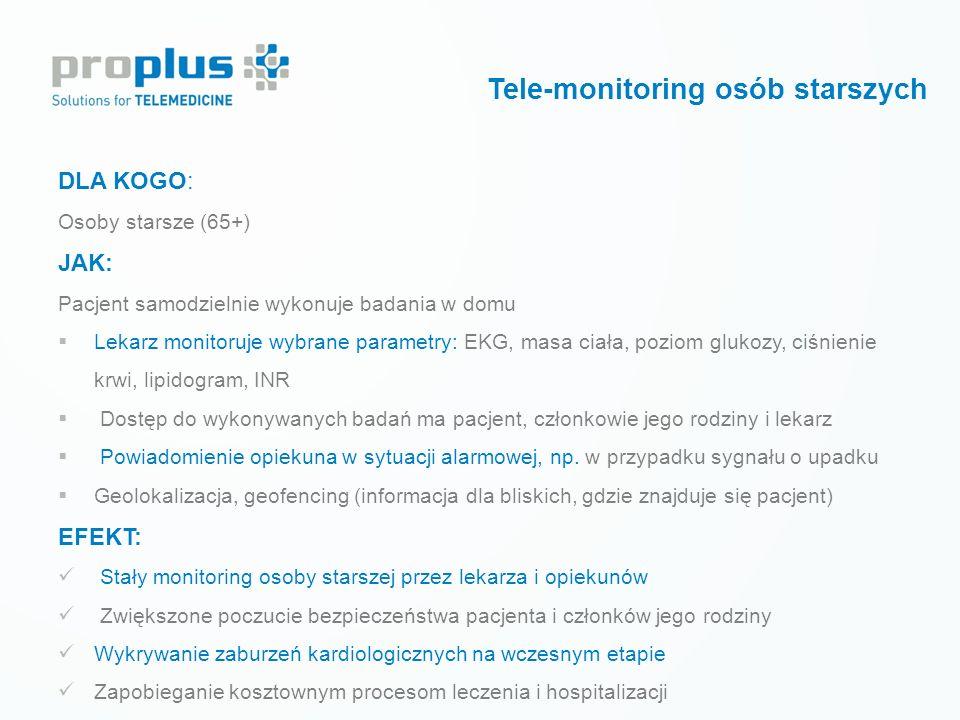Prewencja wtórna LECZENIE CUKRZYCY Tele-monitoring krótkoterminowy Tele-monitoring osób starszych DLA KOGO: Osoby starsze (65+) JAK: Pacjent samodziel