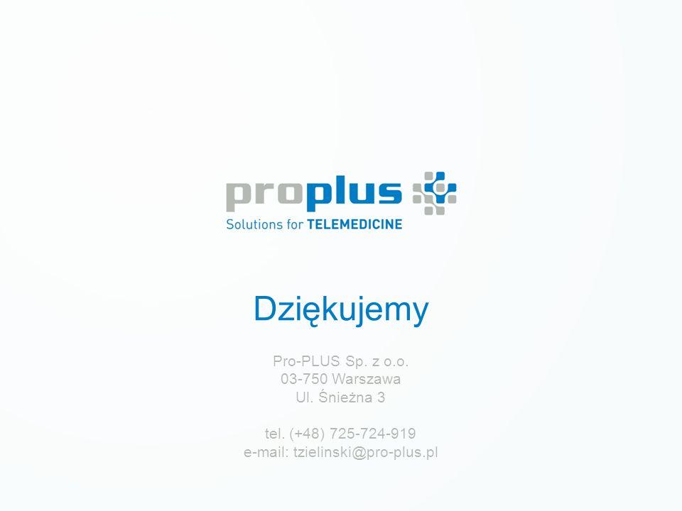 Dziękujemy Pro-PLUS Sp. z o.o. 03-750 Warszawa Ul. Śnieżna 3 tel. (+48) 725-724-919 e-mail: tzielinski@pro-plus.pl
