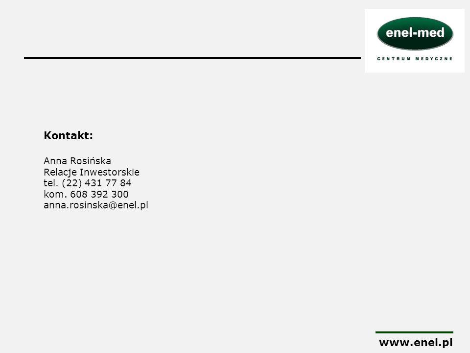 Kontakt: Anna Rosińska Relacje Inwestorskie tel. (22) 431 77 84 kom. 608 392 300 anna.rosinska@enel.pl www.enel.pl