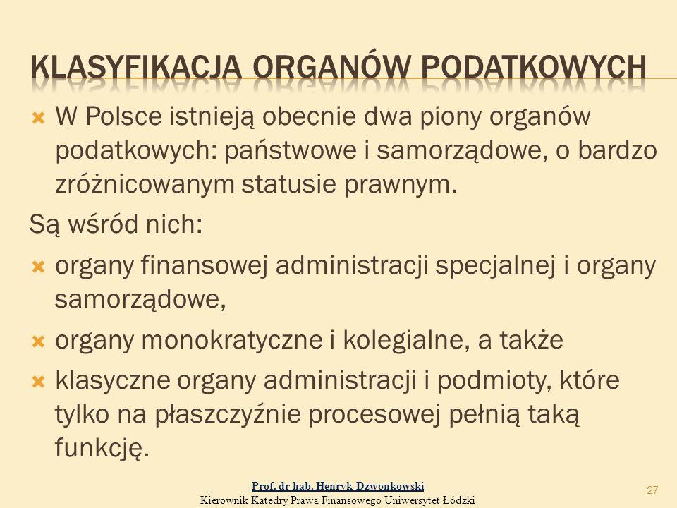  W Polsce istnieją obecnie dwa piony organów podatkowych: państwowe i samorządowe, o bardzo zróżnicowanym statusie prawnym.