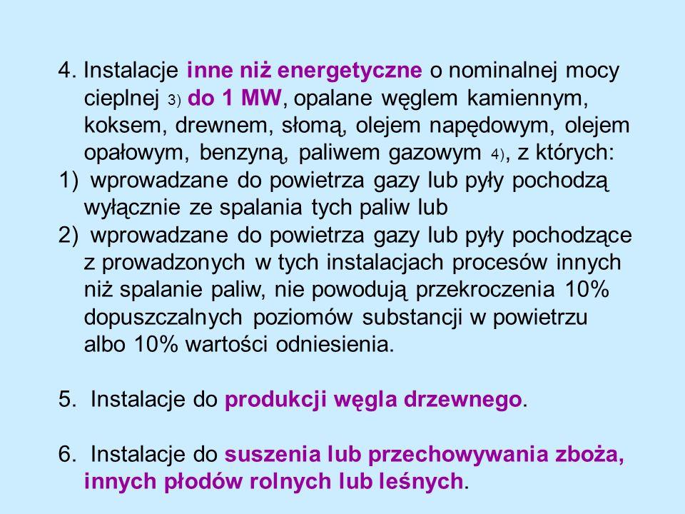 4. Instalacje inne niż energetyczne o nominalnej mocy cieplnej 3) do 1 MW, opalane węglem kamiennym, koksem, drewnem, słomą, olejem napędowym, olejem