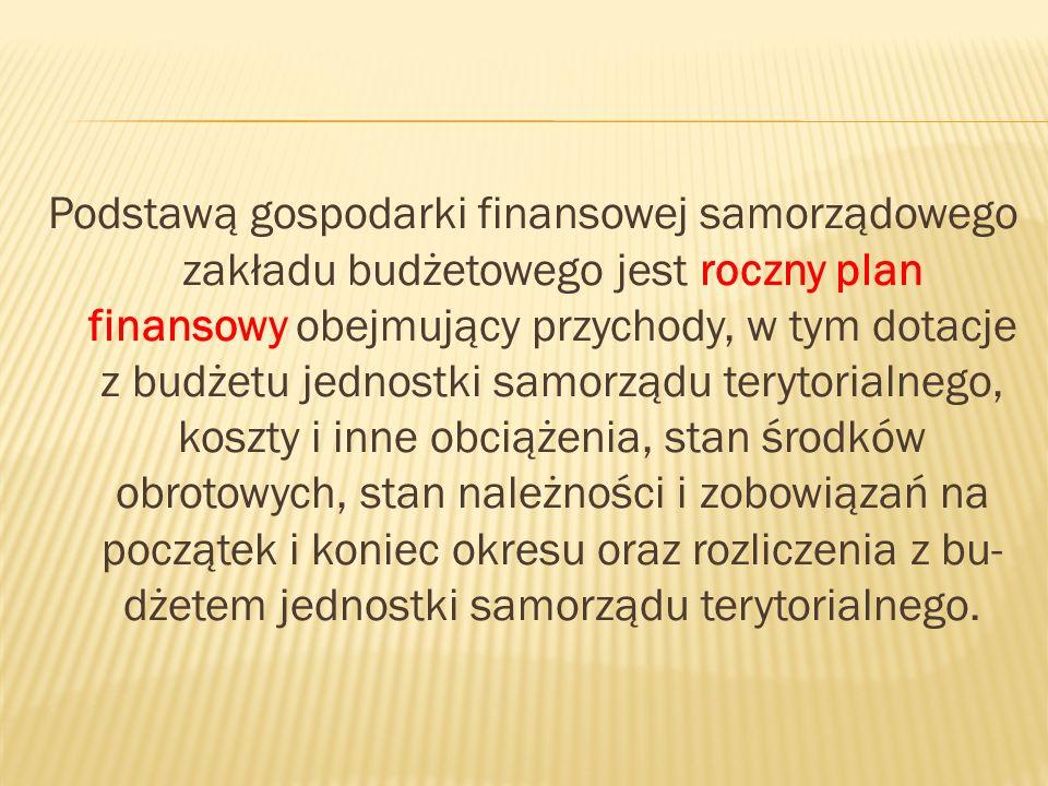 Podstawą gospodarki finansowej samorządowego zakładu budżetowego jest roczny plan finansowy obejmujący przychody, w tym dotacje z budżetu jednostki samorządu terytorialnego, koszty i inne obciążenia, stan środków obrotowych, stan należności i zobowiązań na początek i koniec okresu oraz rozliczenia z bu- dżetem jednostki samorządu terytorialnego.