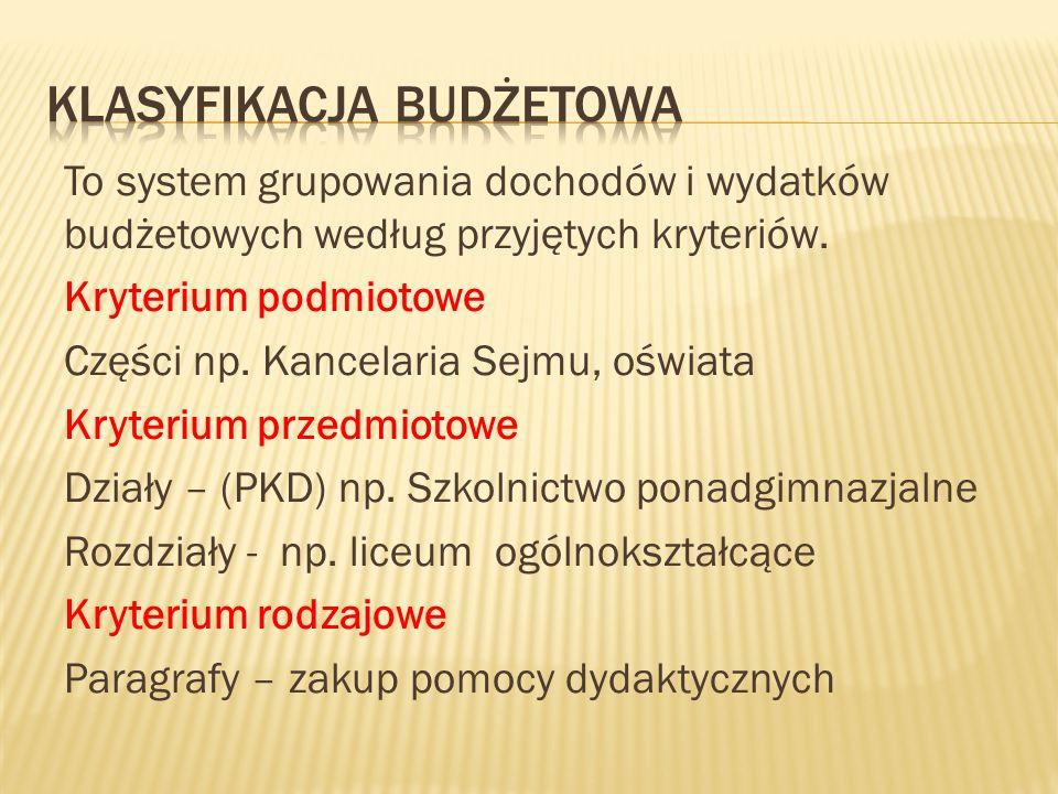 To system grupowania dochodów i wydatków budżetowych według przyjętych kryteriów.