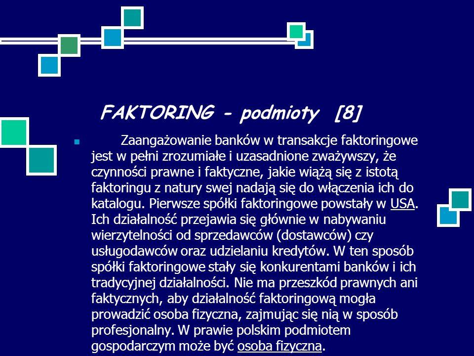 FAKTORING - podmioty [8] Zaangażowanie banków w transakcje faktoringowe jest w pełni zrozumiałe i uzasadnione zważywszy, że czynności prawne i faktycz