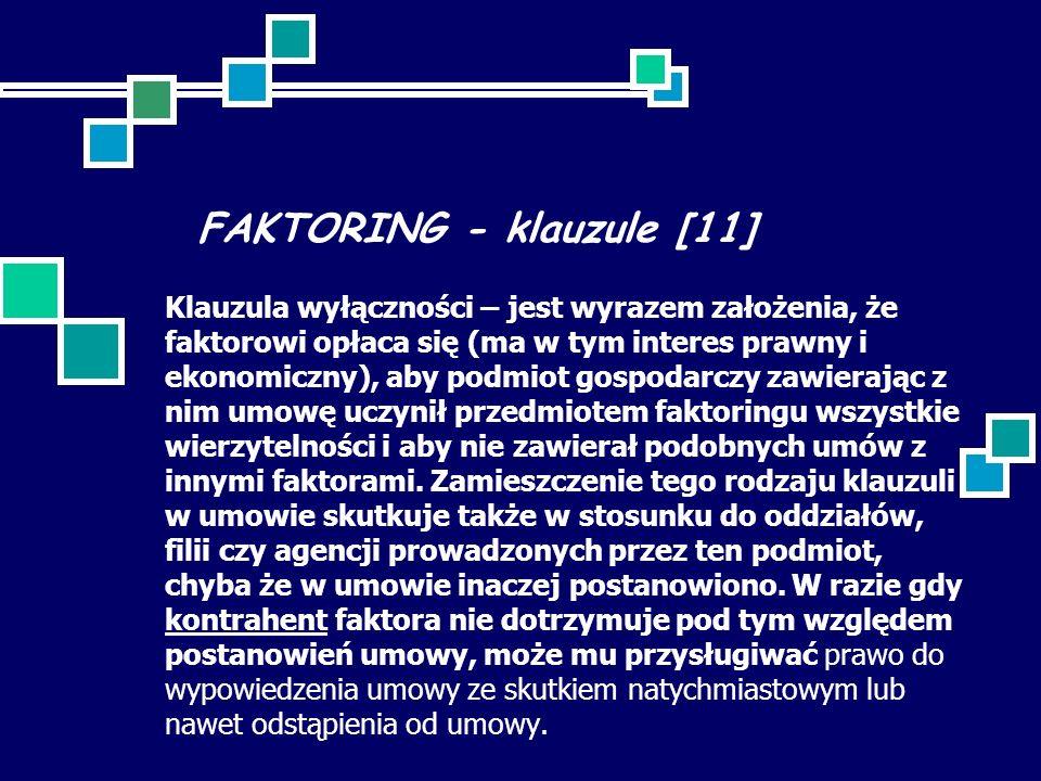 FAKTORING - klauzule [11] Klauzula wyłączności – jest wyrazem założenia, że faktorowi opłaca się (ma w tym interes prawny i ekonomiczny), aby podmiot