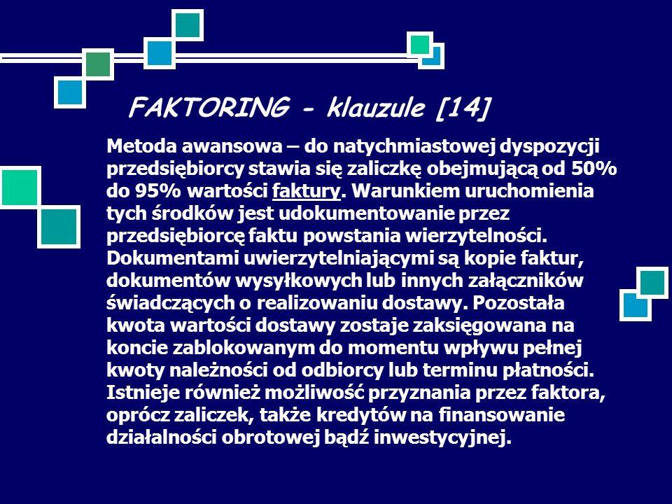FAKTORING - klauzule [14] Metoda awansowa – do natychmiastowej dyspozycji przedsiębiorcy stawia się zaliczkę obejmującą od 50% do 95% wartości faktury.