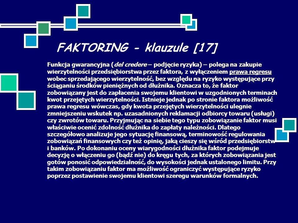 FAKTORING - klauzule [17] Funkcja gwarancyjna (del credere – podjęcie ryzyka) – polega na zakupie wierzytelności przedsiębiorstwa przez faktora, z wył