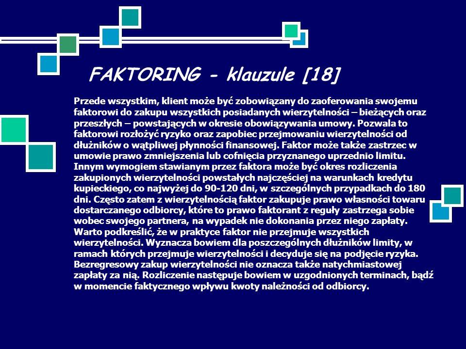 FAKTORING - klauzule [18] Przede wszystkim, klient może być zobowiązany do zaoferowania swojemu faktorowi do zakupu wszystkich posiadanych wierzytelności – bieżących oraz przeszłych – powstających w okresie obowiązywania umowy.