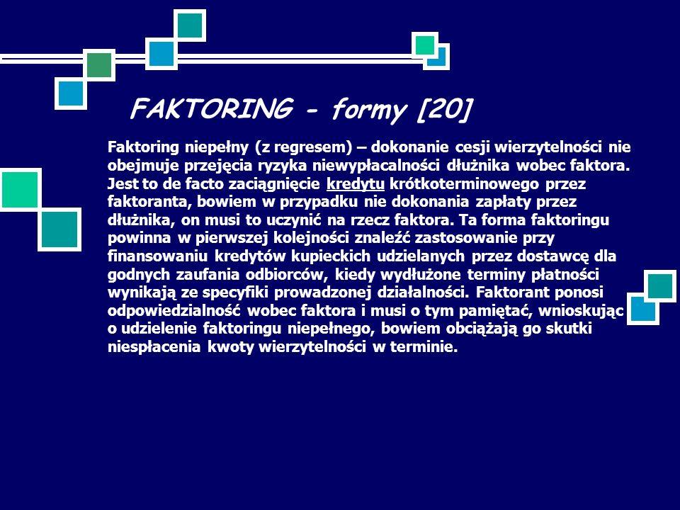 FAKTORING - formy [20] Faktoring niepełny (z regresem) – dokonanie cesji wierzytelności nie obejmuje przejęcia ryzyka niewypłacalności dłużnika wobec faktora.