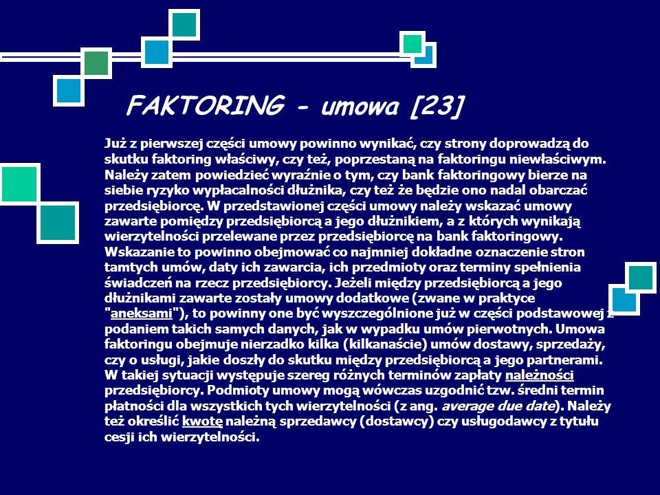 FAKTORING - umowa [23] Już z pierwszej części umowy powinno wynikać, czy strony doprowadzą do skutku faktoring właściwy, czy też, poprzestaną na faktoringu niewłaściwym.