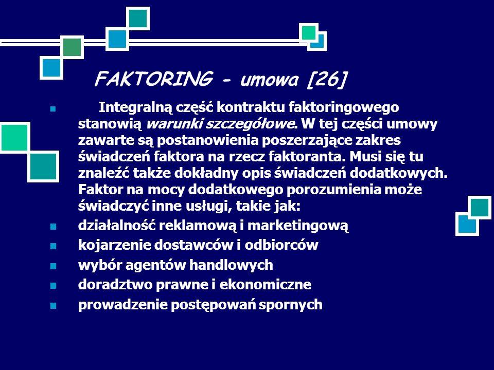 FAKTORING - umowa [26] Integralną część kontraktu faktoringowego stanowią warunki szczegółowe. W tej części umowy zawarte są postanowienia poszerzając