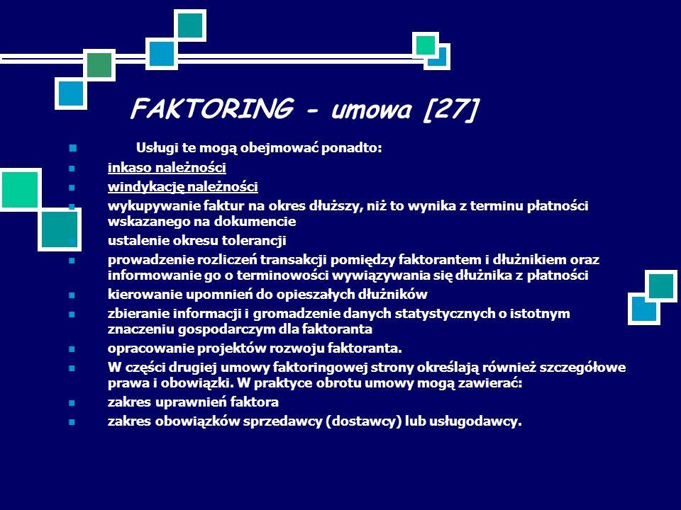 FAKTORING - umowa [27] Usługi te mogą obejmować ponadto: inkaso należności windykację należności wykupywanie faktur na okres dłuższy, niż to wynika z